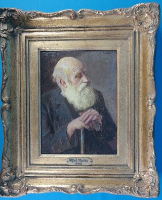 Alfred Russo Signed Antique Portrait Oil Painting On Board And Framed