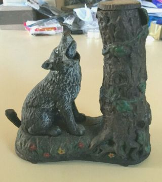 Rare Find Antique Cast Iron Mechanical Bank Wolf & Squirrel Hubley Pat.  7.  23.  1883