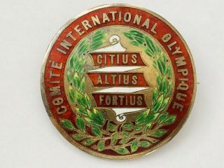 Very Rare Antique 1910 Olympic International Committee Silver & Enamel Pin Badge