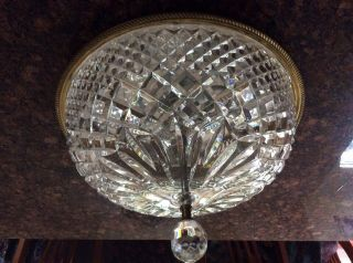 "Vintage Waterford 15"" Cut Glass Ceiling Mount Chandelier"