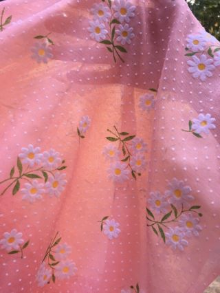 4,  Yds Vintage Peachy Pink Sheer Flocked White Daises & Polka Dots Fabric