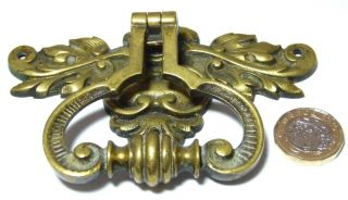 Large Arts&crafts Gothic Antique Brass Fancy Chest/drawer/door Handle Leaves