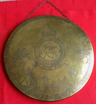 Wwii British No.  45 Squadron Raf Large Theater Made Trench Art Brass Gong