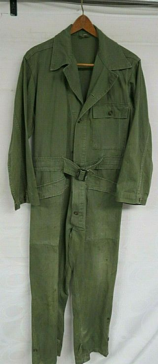 Vintage 1948 Us Army Coveralls Size Small Herringbone Green