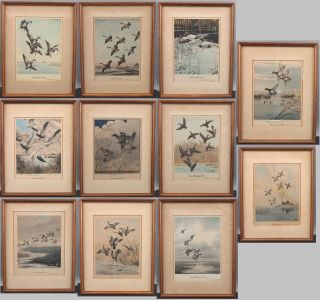 Series 11 Antique Ducks Unlimited Federal Duck Stamp Hand Tinted Prints 1939 - 49