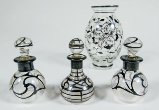 Antique Sterling Silver Overlay Art Nouveau Vase And Three Perfume Bottles