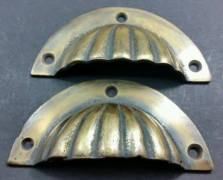 """2 Antique Bin Cup Pull Drawer Handle Fluted Design Solid Brass 2 - 3/4 """" Ctrs A13"""
