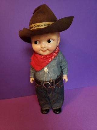 Antique Buddy Lee Advertising Doll In Rare Outfit And Brown Hat