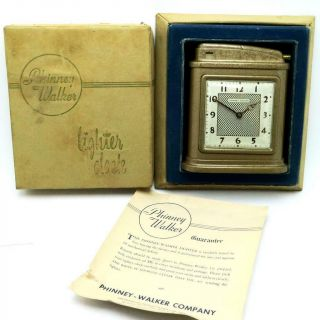 Vintage Phinney Walker Automatic Table Lighter With Clock -