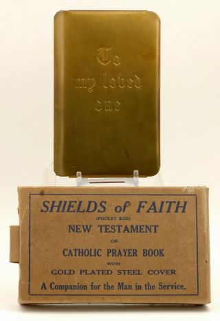 Ww2 Testament Heart Shield Pocket Bible & Box Unissued Bulletproof