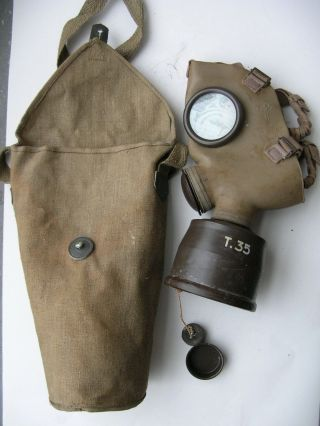 Ital Italy Italian T35 Gas Mask,  Filter 1940 Year Dated,  Canvas Bag