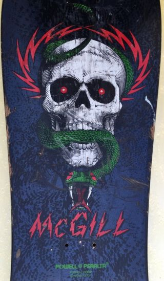 Vintage 80's Powell Peralta Mike Mcgill Skateboard Deck Seven Ply 1801