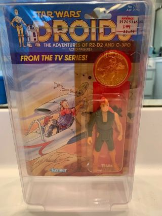 Rare Vintage Star Wars 1985 Kenner Thall Joben Droids Tv Series On Card Back