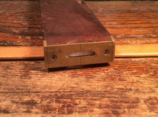 Antique.  INCLINOMETER LEVEL Brass and Wood Antique.  1873. 5