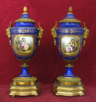Antique French Porcelain & Ormolu Sevres Vases & Covers,  Painted Scenes