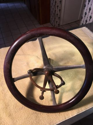 Antique Prewar Boat Steering Wheel.  Wood Chris Craft Hacker Gar Wood