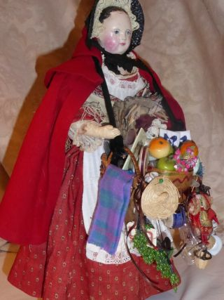 Antique 15 Inch Papier Mache Peddlar Doll