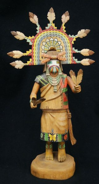 Antique Hopi Kachina Doll Eototo/chief Signed Native American Hand Painted A8636