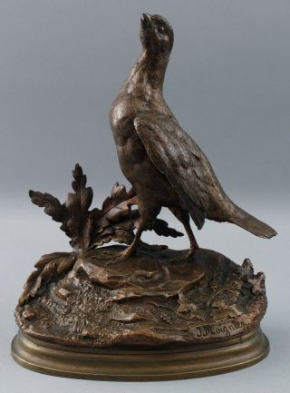 19thc Antique Jules Moigniez French Bronze Sculpture,  Grouse Bird,  Nr