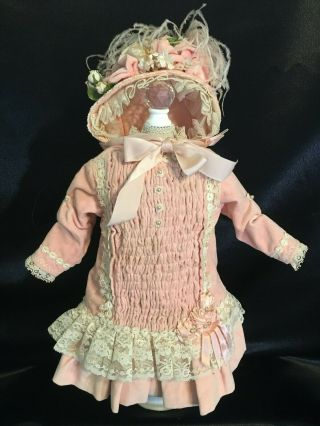 Stunning Antique Styled Doll Dress W Matching Bonnet For Jumeau Bebe