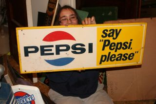 "Vintage 1965 Pepsi Cola Soda Pop Gas Station 31 "" Embossed Metal Sign"