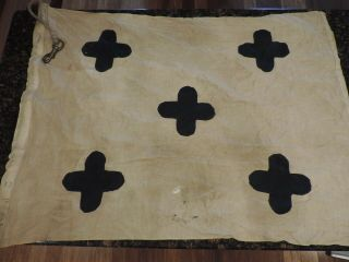 """5 Vintage Wwii Us Navy Boat Or Martime Signal Flags 36 """" With Rope Channel"""