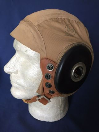 Wwii Army Air Forces Aaf Pilot's Summer Flying Helmet Type An - H - 15 W/ Receivers