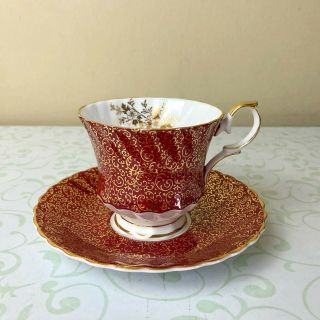 Vtg Queen Anne Tea Cup And Saucer Red White Gold Floral Bone China From England