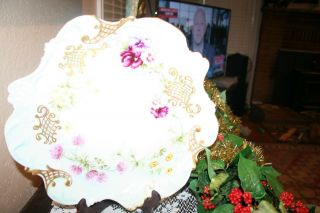 Stunning Large J Pouyat Limoges Pansies Porcelain Hand Painted Cabinet Plate