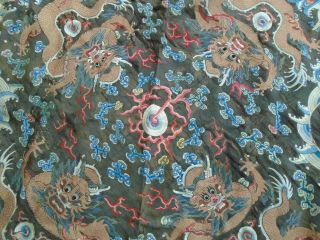 Antique Chinese Embroidered Silk Dragon Tapestry Gold Thread 5 Claw Dragons