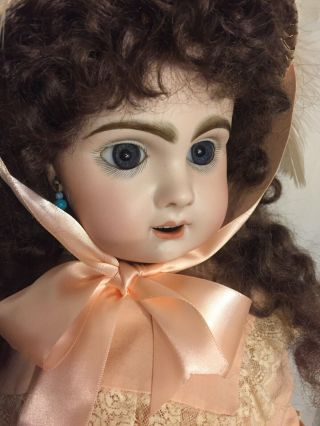 "25"" Tete Jumeau Fully Marked Antique French Bisque Doll - Stand"