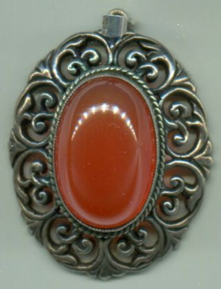 Arts & Crafts Carnelian,  Sterling Silver Gold Wash Pendant Sybil Dunlop