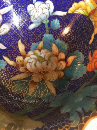 Very Colorful Good And Fine Unusual Antique Chinese Cloisonne Bowl On Stand 3 ""