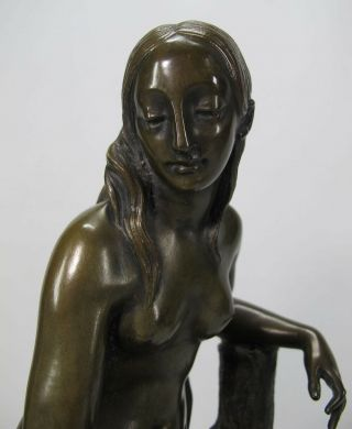 Orig Jean Francois Theodore Gechter (1796 - 1844) Antique Bronze Nude On Stump Yqz