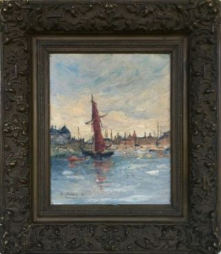 E.  Boudin Signed Antique Oil / Canvas Painting French?