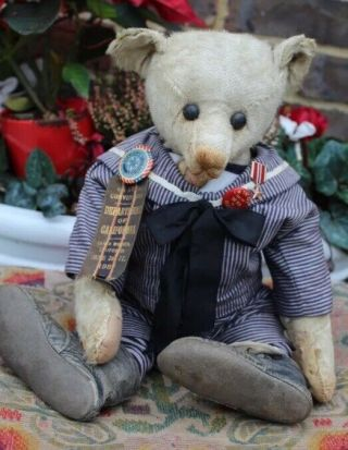 "Wonderful Antique 1908c 16 "" Mohair Teddy Bear Ff Button"