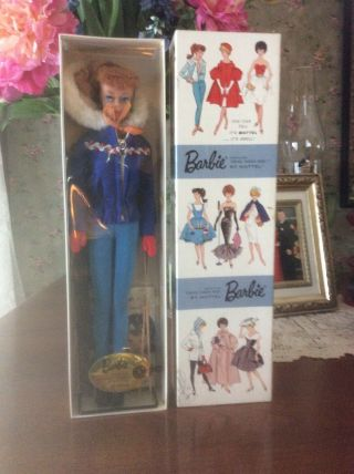 Vintage 1962 - 1963 948 Ski Queen,  Titian Ponytail Barbie Doll,  Nrb,