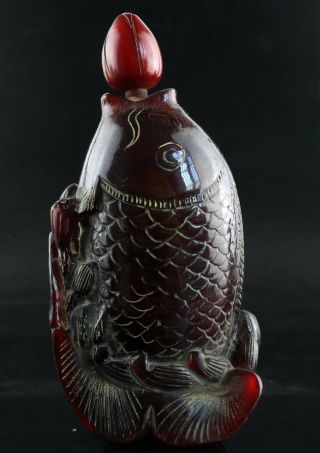 Collect China Antique Hand Carve Fish & Lotus Unique Noble Ox Horn Snuff Bottle