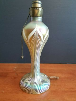 "Antique Signed Quezal Glass Pulled Feather Gold Lamp 11 3/4 "" Ultra Rare Excell,"