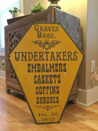Old Undertaker Funeral Home Double Sided Antique Porcelain Sign