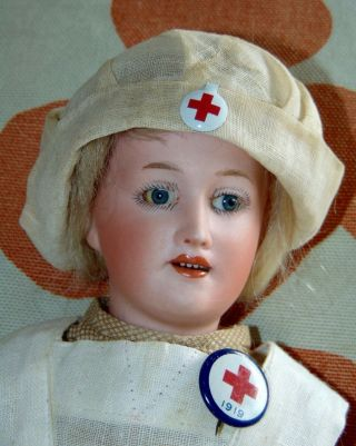 Very Rare Antique Character Doll Gebruder Heubach Lady Body Red Cross Nurse 7935