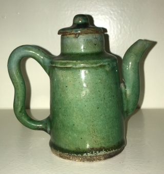 Antique Chinese Green Ceramic / Pottery Teapot / Wine Pot W Wax Seal