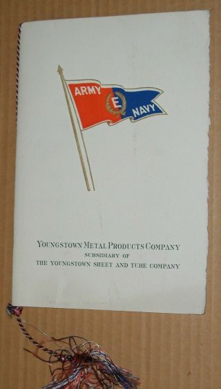 Vintage 1943 Army Navy Production Award Program Youngstown Metal Products