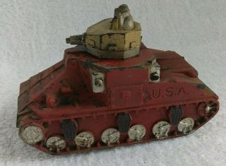 Rare Vintage Sun Rubber 1946 Red Turret Tank Usa Wwii Boys Toy Collectible