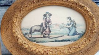 Vintage,  Rare Victorian Lithograph Wall Print Picture Of Boy & Girl With Sheep