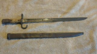 Old Relic Japanese Bayonet W.  Hooked Quillon And Scabbard