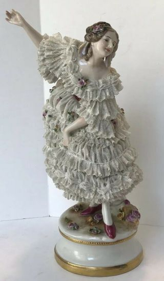 """Vintage Volkstedt Dresden Full Lace Figurine Dancing Lady Germany 12"""""""