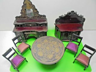 Antique Victorian Waltershausen Boulle Dolls House Furniture Old Parlour Suite