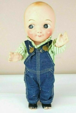 Vintage Buddy Lee Hard Plastic Doll In Lee Overalls And Shirt Marked 1949 - 1960