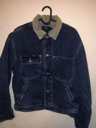 Rrl Double Rl Vintage Ralph Lauren Jean Jacket Made In Usa Mens Small Hipster